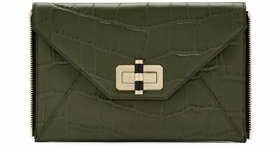 1725609e87715 DIANE VON FURSTENBERG Olive Crocodile embossed Gallery Secret Agent Clutch
