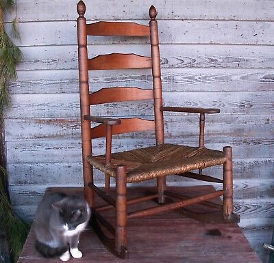 ci 1820 Rare Antique Slat Back Short Arm Rocking Chair Hoop Skirt Patina Pegged