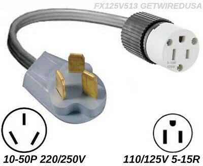 Gas Range Stove Power Converter 110 To 220 10-50P PLUG 5-15R Receptacle Adapter
