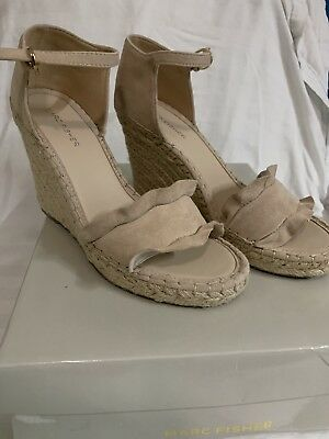 318ee59c927 MARC FISHER WOMENS kickoff Leather Open Toe Casual Ankle Strap, Nude, Size  9M