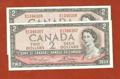2 1954 Consecutive Serial Number Two Dollar Bank Notes Crisp Notes E488