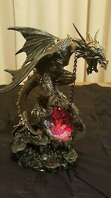 Beautiful Gothic Dragon on Light Geode 30 cm New