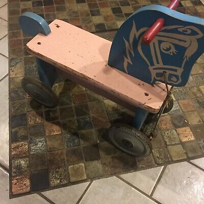 Antique 1900' Vintage Owned 100 yr} Kids Toddler Ride-On Push/Kick Child Scooter