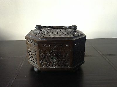 Antique Eight Sided Rare Bronze Chinese Cricket Cage / Hand Warmer