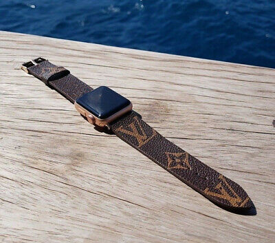 For Apple Watch Band Luxury Brand Design GG LV Brown Flower iWatch Strap 40/44mm