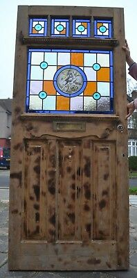 English leaded light stained glass front door. STRIPPED AND NEW PANELS. R520