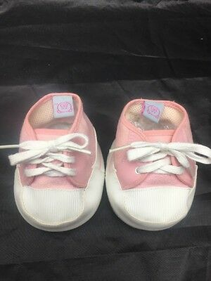 Build A Bear Canvas Pink & White Teddy Bear Shoes *Sneakers *Trainers