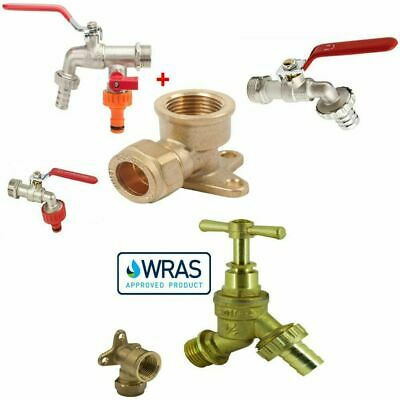 Bulk Hardware 1/2 inch BSP Water Taps with Brass Wall Plate Fixture BS1010-2