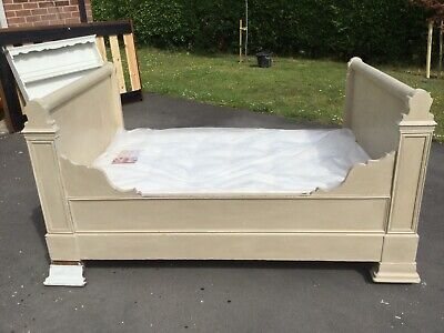 Antique French Bateau Bed With Made To Fit Mattress. Please Read Description.