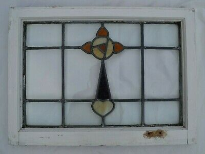 Frame 681 x 505mm. Leaded light stained glass window above door size. R514