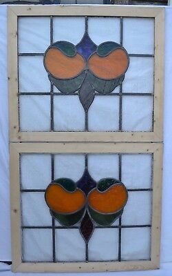 2 leaded light stained glass window panels ABOVE DOOR SIZE! R650