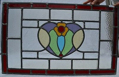 700 x 430mm. Traditional leaded light stained glass window panel. R704d