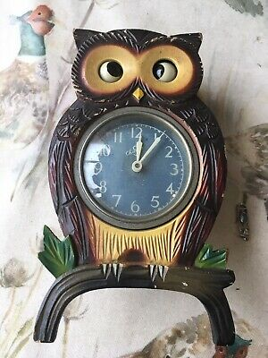 Wooden Carved Owl clock spares or repair