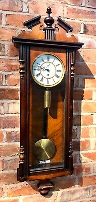Antique Single Weighted Vienna Clock  Ticking Away