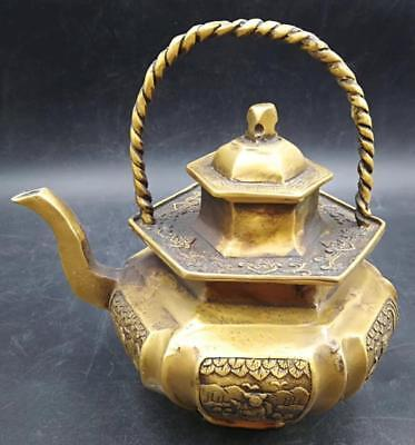 Old China Collectible Relievo human Delicate Decor Old brass Teapot