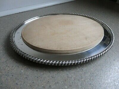 Antique Silver Plated & Wood Bread/Cheese Board