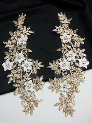Pair Faux Pearl Beaded Gold Floral Embroidery Applique Motif Lace EB0421