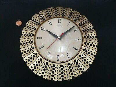 60/70s SMITHS SUNBURST WALL CLOCK, Vintage ROUND GOLD METAL Retro BATTERY QUARTZ