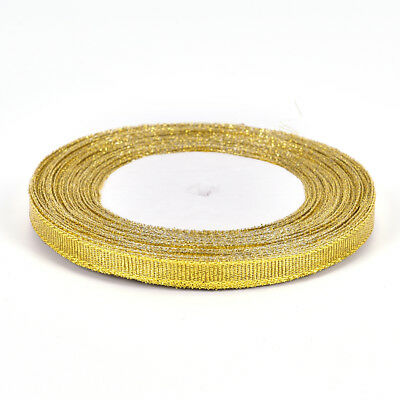 25 Yards Silk Satin Ribbon Gold/Sliver Wrapping Christmas Decorative DIY 6mm  ER