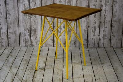 Vintage Style Industrial Cafe Bar Table Pine Top Yellow 17 AVAILABLE inc VAT
