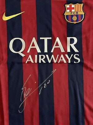 71f0e414ece LIONEL MESSI SIGNED Nike Barcelona Home Soccer Jersey Large Beckett+ ...