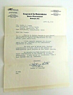 Vtg 1967 Letter From Congress RE: Grant Programs In Home Health Agencies MA