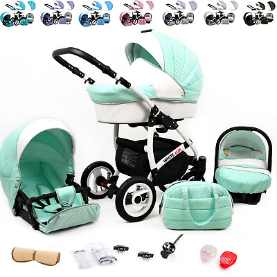 Baby Pram Buggy 3in1 Car Seat Carrycot Travel System Pushchair Newborn FREEBIES