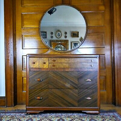 Art Deco Dresser, Waterfall Dresser, Antique Dresser, Lowboy Dresser, Mirror