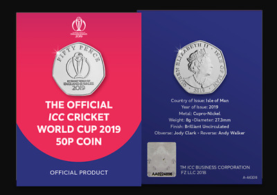 Isle Of Man Official ICC Cricket World Cup 2019 BUNC 50p Coin
