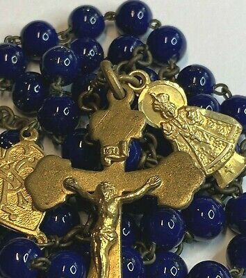 † Antique18K Yellow Gold Wash Hallmarked Sterling Blue Lapis Rosary & Medal †