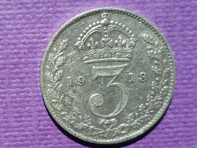 1913 Silver Coin Threepence / 3d - King George V, nice condition