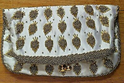 Large Vintage 1950's White Satin & Gold Glass Bead Clutch Bag Made in Hong Kong