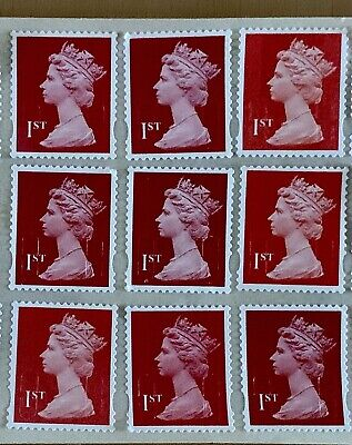30 1St First Class Unfranked Security Stamps Off Paper With Original Gum F/V £21