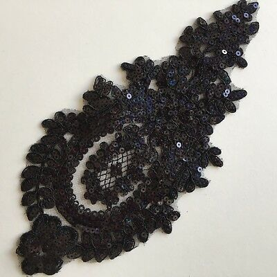 Black Allover Sequined Floral Embroidery Applique Motif Lace Sewing Trim EB0376
