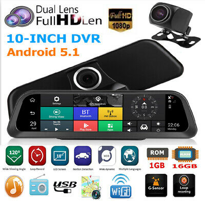 10in 4G Car Dash Cam Dual Lens Android 5.1 DVR Camera GPS Navi WiFi BT ADAS #BT