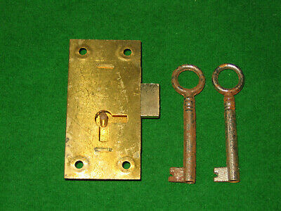 "Brassed Steel Old Fashioned Cabinet / Drawer Lock. Unused With 2 Keys. 2 1/2"" X"