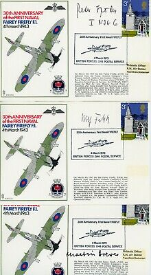 3 First Day Covers Luftwaffe Ww2  Signed Drewes Spoden Falck Knights Cross Aces