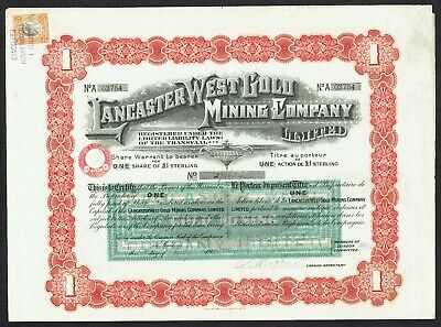South Africa Lancaster West Gold Mining Co. Ltd. Share warrant 1911