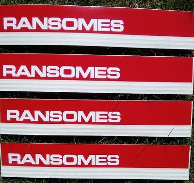 4 Ransomes Original red Decal stickers plough tractor machinery