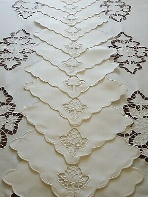 Vintage Embroidered Floral Cutout Work  Linen Set Tablecloth And 12 Napkins