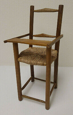 """Vintage Handcrafted Collectible Miniature Wicker Wood Doll High Chair 14"""" tall"""