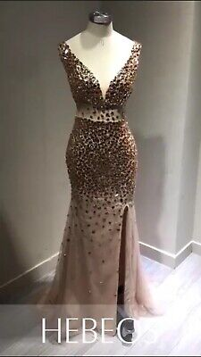 16483ca4bbe5 Hebeos Column Vneck Sequin Sweep/Brush Train Sleeveless Jersey gold Prom  dress