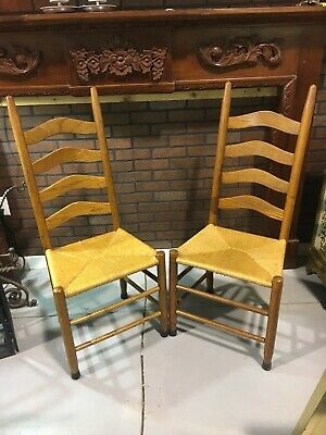 Pair of Antique 4 LADDER BACK CHAIRS with Rush Seats Rattan Wicker Wooden