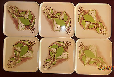 Mid Century 6 Square Metal Snack Serving Trays Plate Green Leaf Pattern Vintage