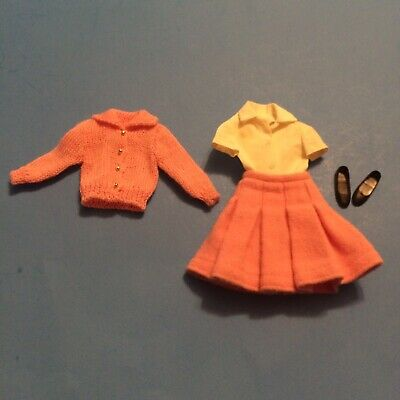 Vintage 1964 Skipper Barbie Doll Outfit School Days #1907 Pink Sweater Skirt +++