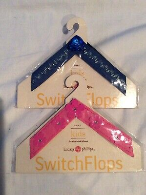 Lindsay Phillips Kids SwitchFlops Straps Pink &Blue Size Small , Set of 2