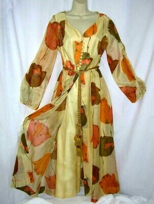 RARE Vtg 70s ALFRED SHAHEEN Yellow Floral 2 PC OPEN SKIRT MAXI DRESS & PANTS