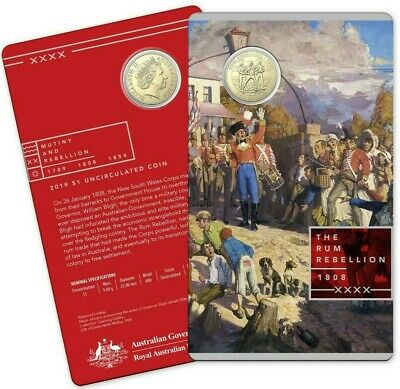 2019 $1 Uncirculated Coin.  Mutiny and Rebellion - The Rum Rebellion