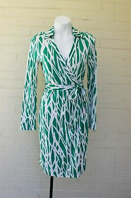 f0baea1750d6 Diane Von Furstenberg New Julian Two Silk Jersey Green Twig Wrap Dress 10