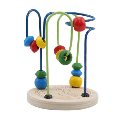Children Kids Baby Colorful Wooden Mini Around Beads Educational Game Toys JJ